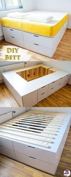 DIY Ikea Hack – Cama estable, muy alta con mucho espacio de almacenamiento para construirte …  #almacenamiento #construirte #espacio #estable #mucho