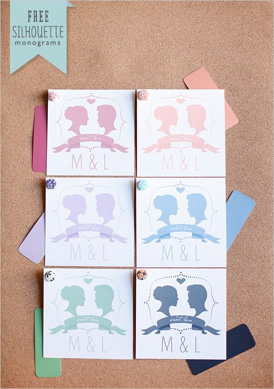FREE silhouette monograms {customize text and color}