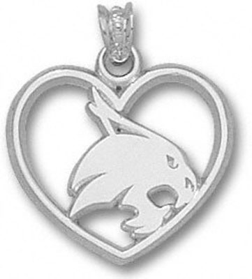"Texas State Bobcats 5/8"" Sterling Silver Supercat Heart Pendant"