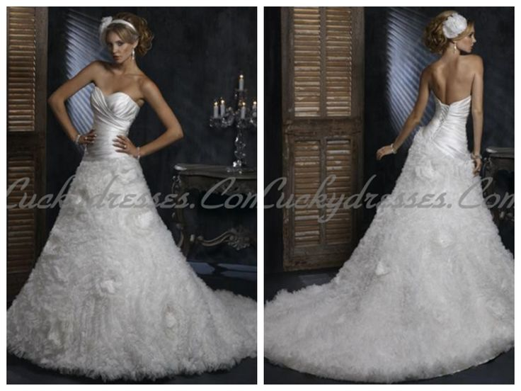 SATIN AND ORGANZA STRAPLESS SWEETHEART A-LINE LUXURIOUS WEDDING DRESSES