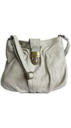 Ruched Light Grey Soft Leather Satchel/Cross Body Bag - Down to £34.99 from £19.99