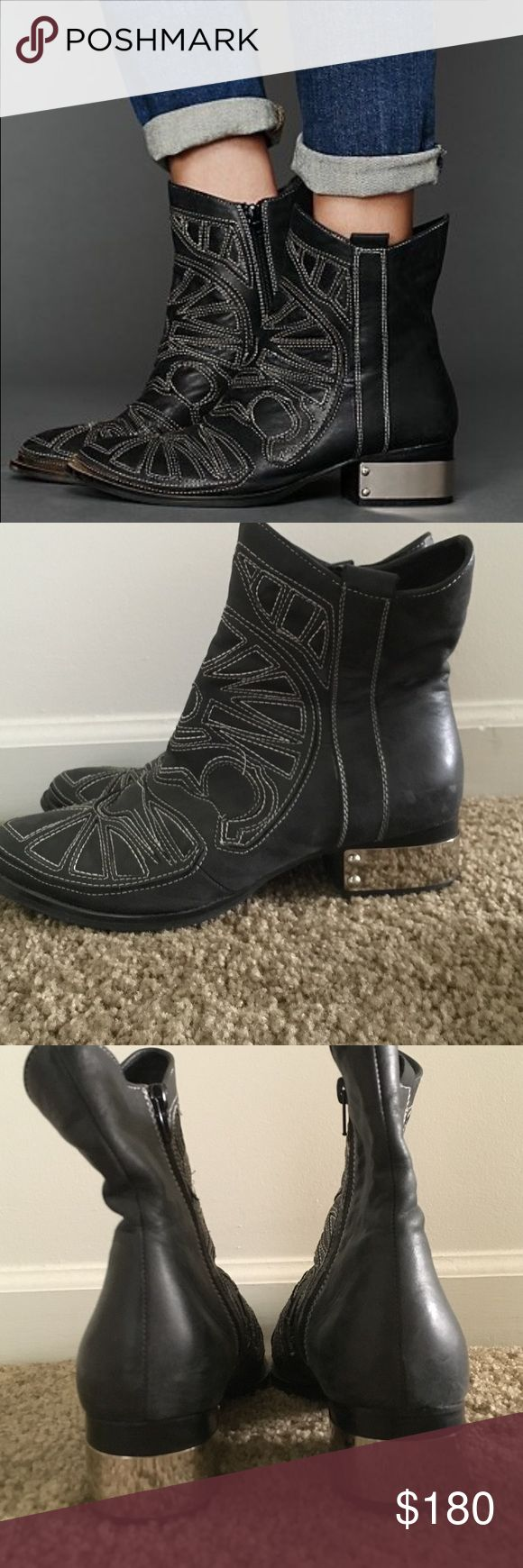 Jeffrey Campbell Cavalier Boot Jeffrey Campbell Cavalier boot in washed black leather with white stitching. Metal plates on heels. Great condition. Very minimal scuffing on one back of shoe. Jeffrey Campbell Shoes Ankle Boots & Booties
