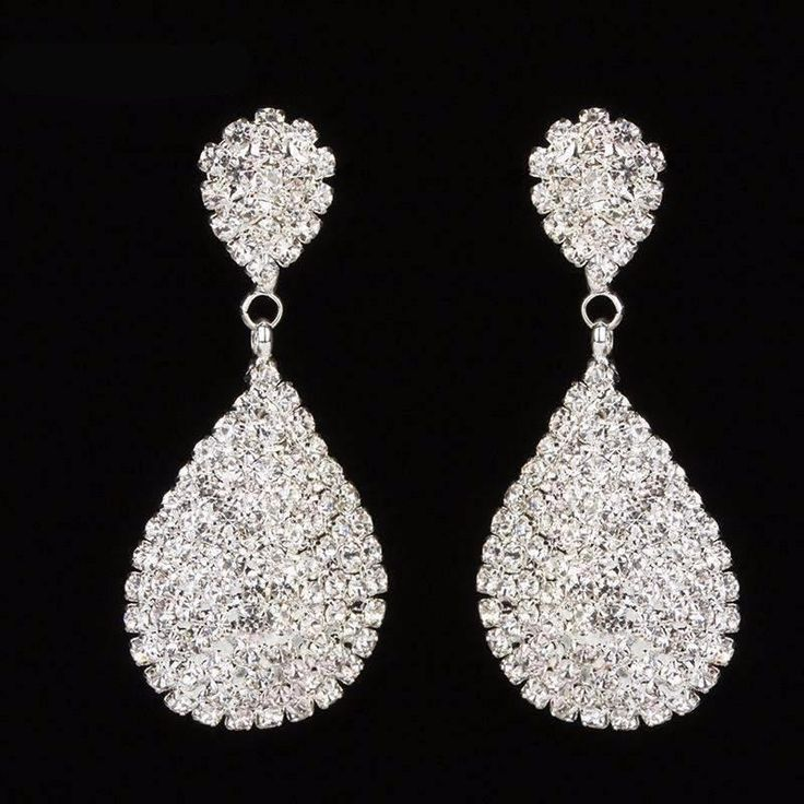 New Style Gold and Silver Drop Dangle Earrings with Full Crystal Luxury  Bridal Wedding Jewellery Earring  Earring Type: Drop Earrings Item Type: EarringsFine