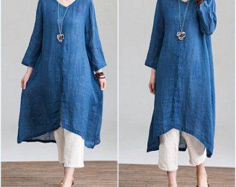 Fall lapel long loose dress shirt large size Knee length by MaLieb