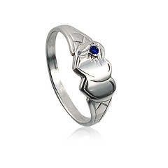 Blue stone double heart signet ring $35