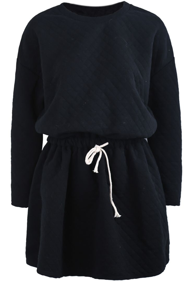 Vestido diamante manga larga-Negro EUR€23.34