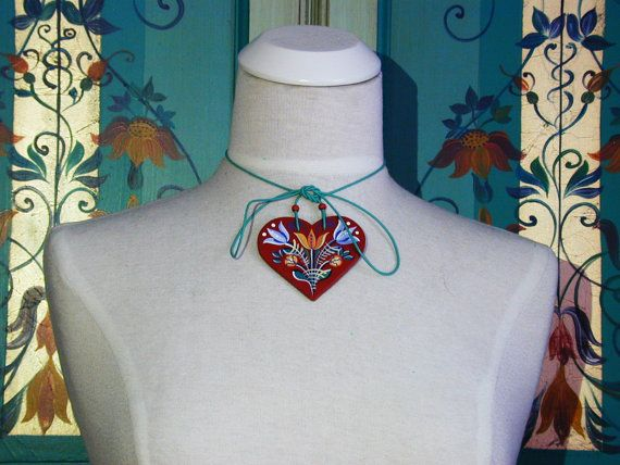 Tulip Garden - Series 01 - red, handpainted heart 2-in-1 necklace and bag jewellery inspired by traditional, historic Transylvanian style
