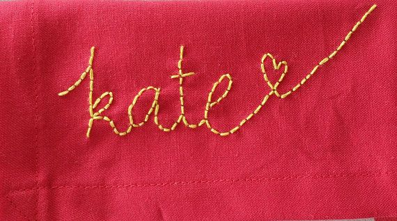 Ruby  cotton hanky with name embroidery  handmade in