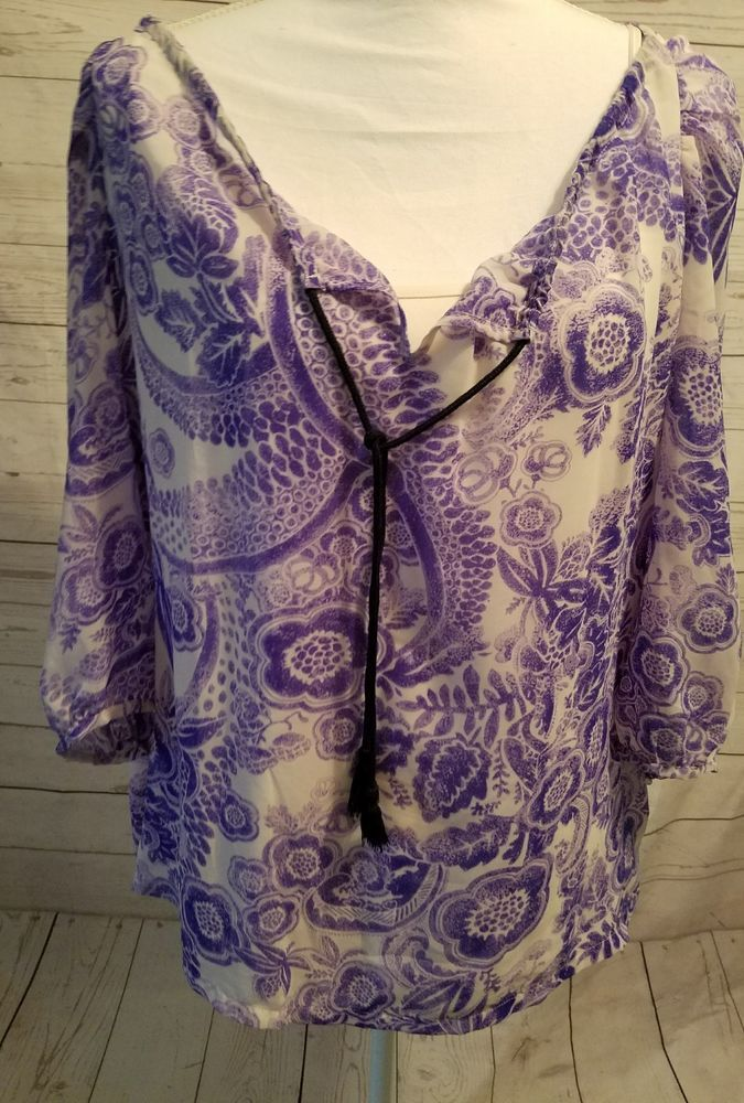 Daisy Fuentes Size Large Womans Top Shirt Blouse Purple Floral Boho Tank Top 3/4 | Clothing, Shoes & Accessories, Women's Clothing, Tops & Blouses | eBay!