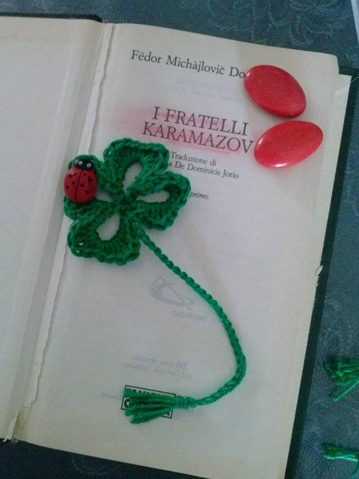quadrifoglio bomboniera per laurea ,segnalibro ganchillo crochet    borseefilati crochet