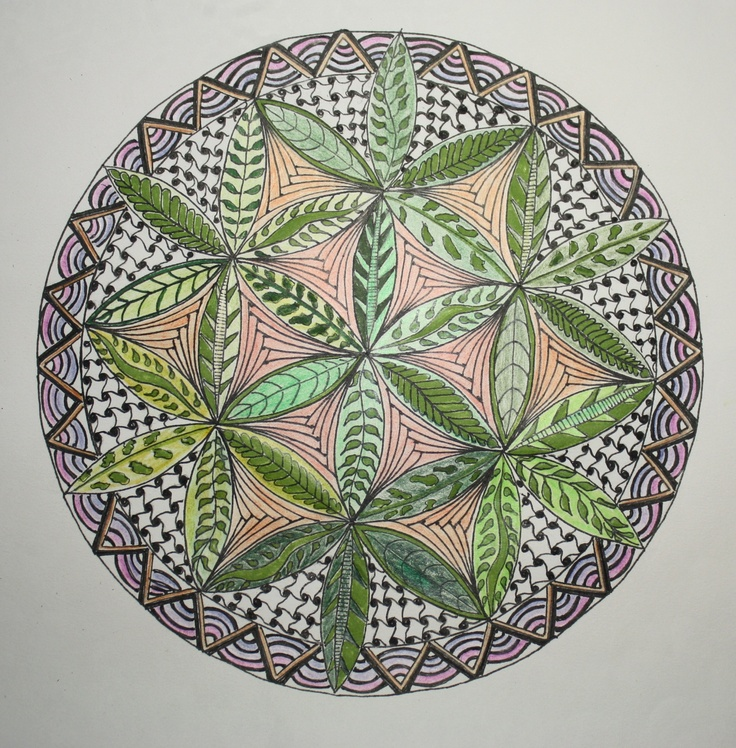 Mandala drawing with Coloured  pencils and ink