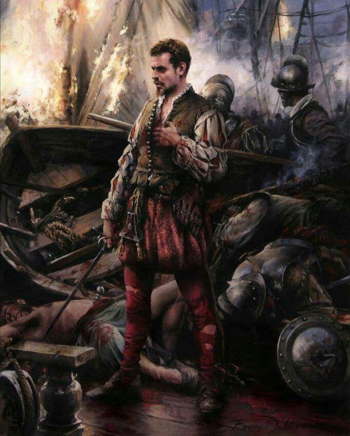 Cervantes en la batalla de Lepanto, 7 octubre 1571.