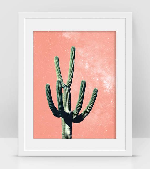 Pink Cactus Art, Desert Cactus Decor, Cactus Printable, Boho Room Decor, Cactus Plant Photo, Mexican Wall Art, Cactus Tree Art, Cacti Plant - by InogitnaDesigns
