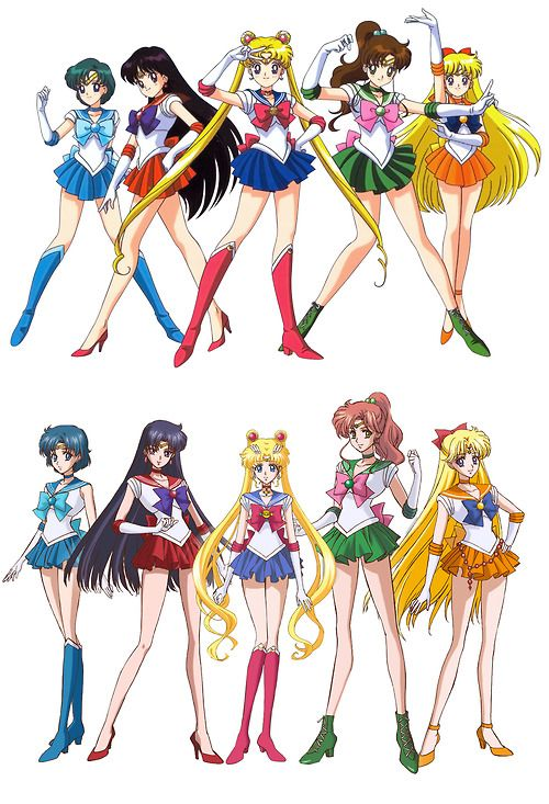 Original Sailor Moon Characters (Top) Vs, New 2014 Designs (Bottom)