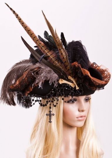 Embellished hat that would be great for a pirate costume or something.