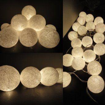 Luci Della Stringa Con Sfere LED Bianche By Flowerglow