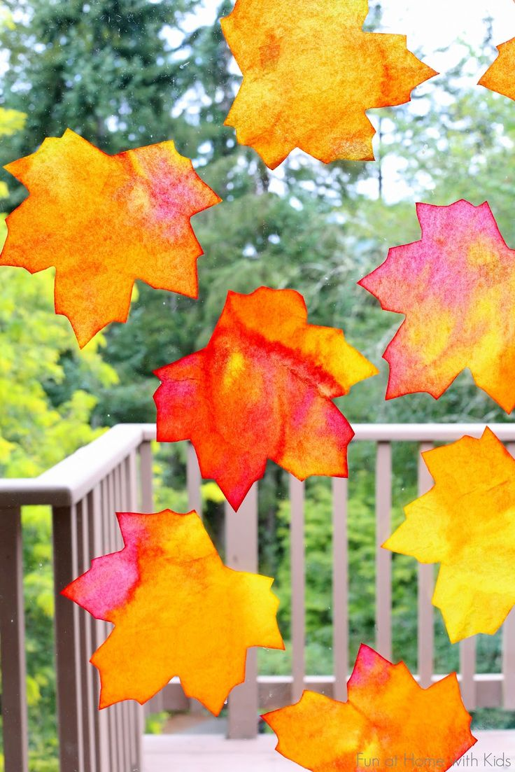Fall Window Art: Leaf Suncatchers + Free Printable Template from Fun at Home with Kids