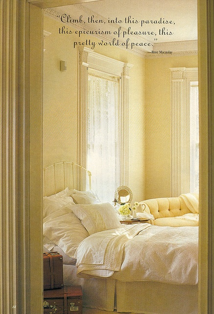 Radiating warmth and light.  Yellow and white room.