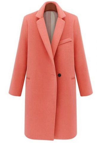 Elegant Lapel Neck Long Sleeve Solid Color Coat For Women