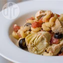 Chicken and Artichoke Pasta, Greek Style