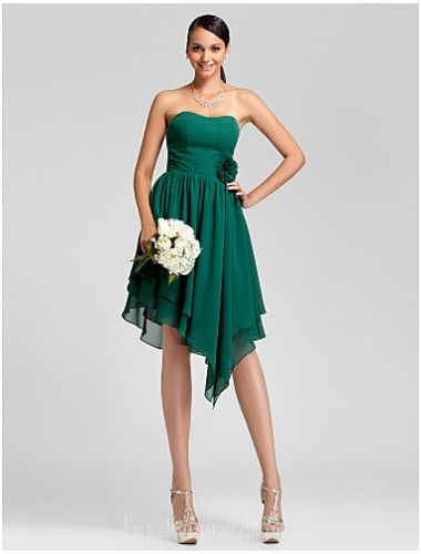 99ea0487382  greenformaldress Asymmetrical Short Knee-length Chiffon Bridesmaid Dress  Dark Green Plus Sizes Dresses Petite A-line Princess Strapless Formal Dress  ...
