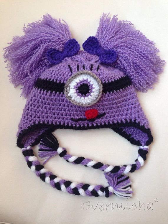 Too Cute To Be Evil Girly Purple Minion Earflap Hat on Etsy, $30.00