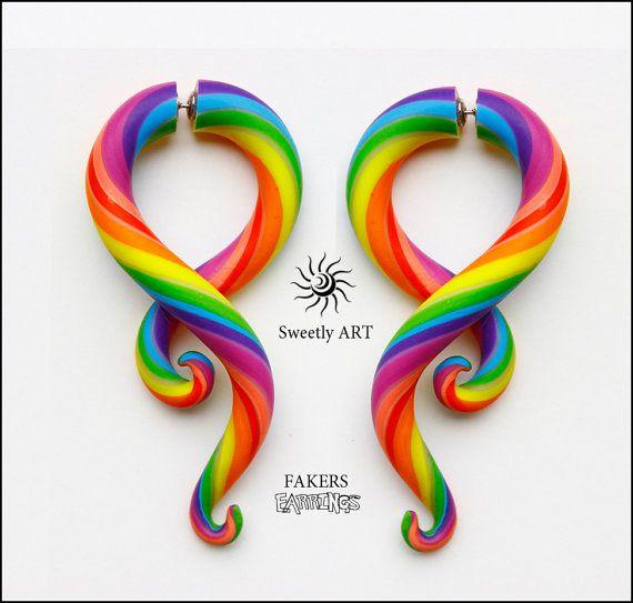 Faux gauge, Rainbow earrings, fake gauges, clay gauges, ear candy, fakers earrings, ear plug, colorful earrings,hippie,rainbow gauges