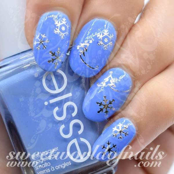 Christmas nails silver snowflakes water decals