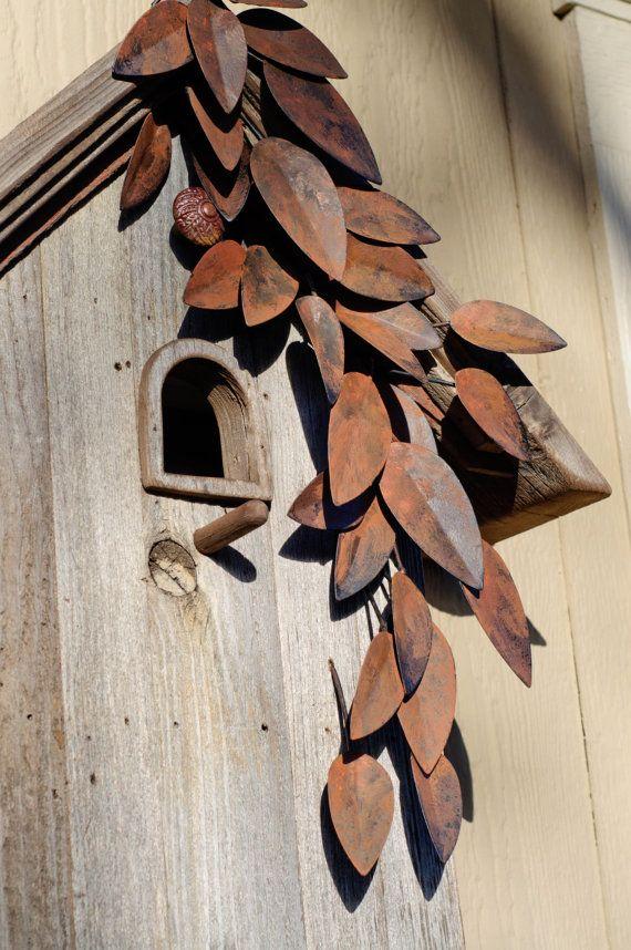 Weathered Leaves Birdhouse by BirdCreekMercantile on Etsy