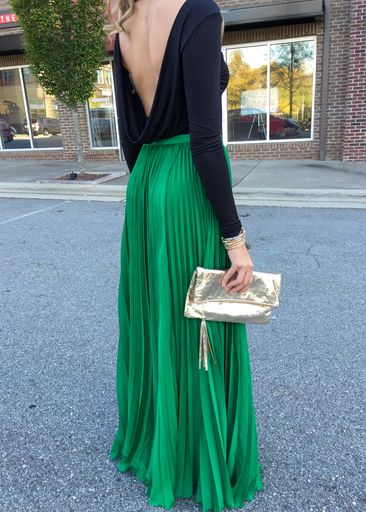 GOING GOING....Crown Jewels Pleated Maxi Skirt - Emerald Green