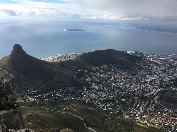 Stunning view from the top of Cable Mountain in Cape Town South Africa