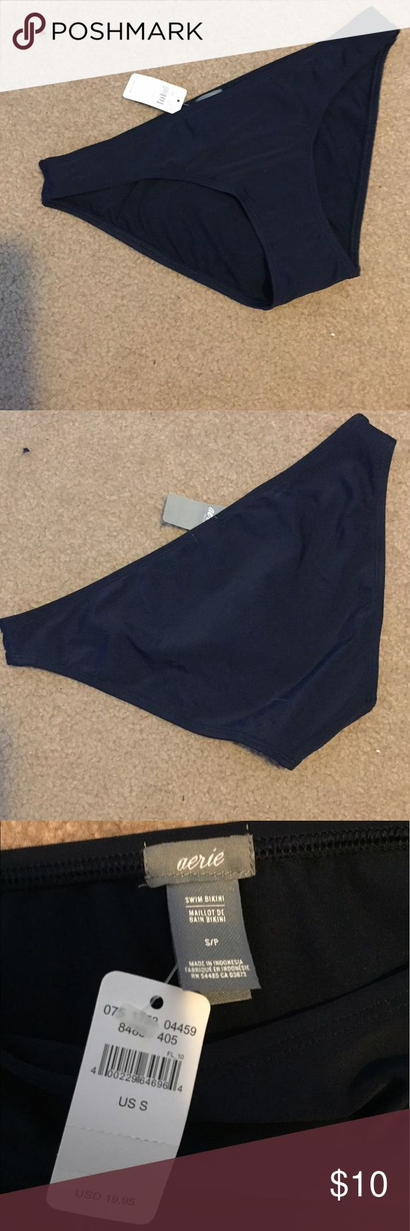 Navy blue bikini bottom Navy blue aerie bottom. Regular bikini cut. No frills. Just straight up navy blue bottoms. Would match s wide variety of tops! Never even tried them on. aerie Swim Bikinis