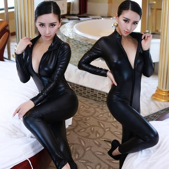 ba76ef08088d9 Hot Sexy Catwomen Faux Leather Latex Zentai Catsuit Smooth Wetlook ...