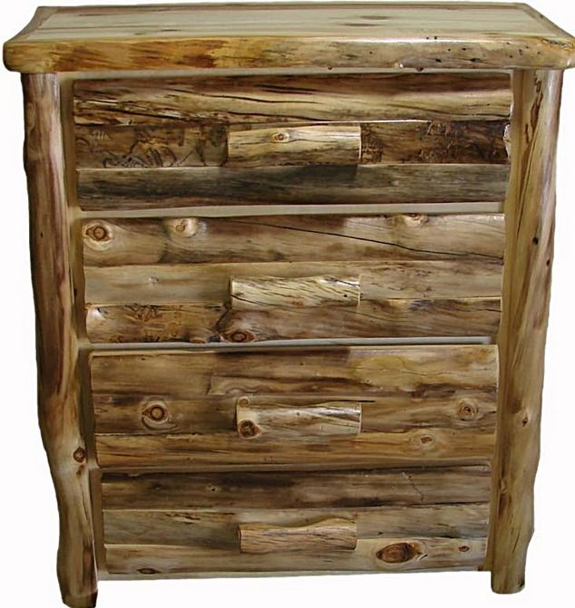 Natural Wood Furniture Ideas: Four Drawer Gnarly Aspen Dresser. Love The Rustic Color