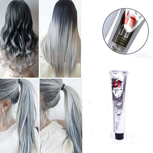 1Pc 100Ml Fashion Light Gray Color Natural Permanent Super Hair Dye Cream New Arrival