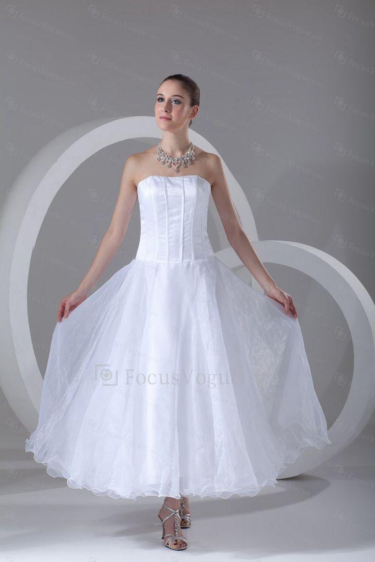 Organza Strapless Ankle-Length Column Short Wedding Dress - Focus Vogue