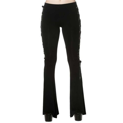 Dead Disco dames flare broek met lint detail zwart - Gothic Metal Emo
