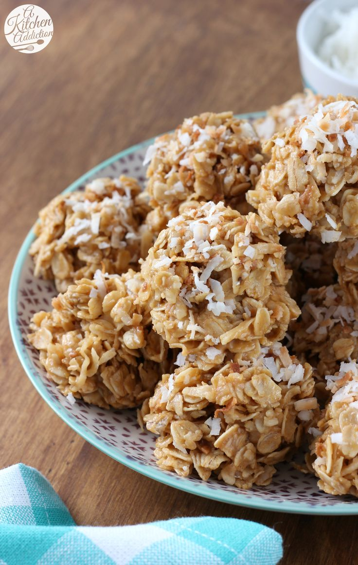 Healthier Toasted Coconut Peanut Butter No Bake Cookies Recipe from A Kitchen Addiction