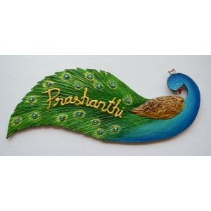 Nameplate peacock designer name plates by mebelkart for Mural name plate designs