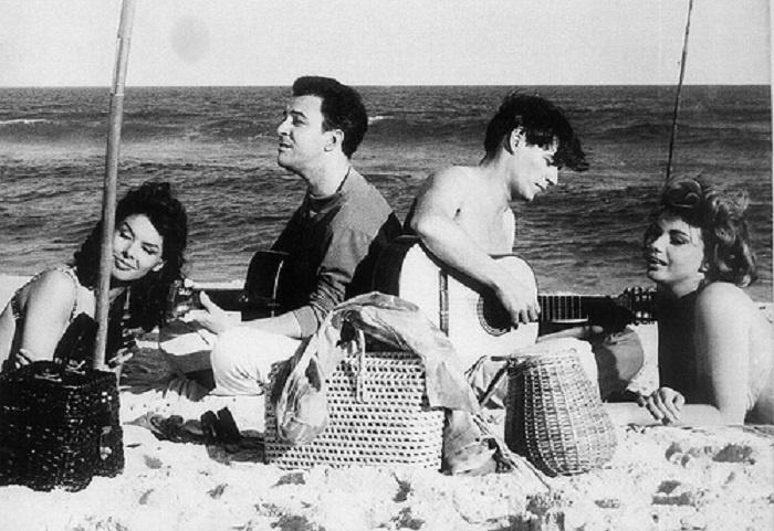 Joao Gilberto and Tom Jobim on the beach.