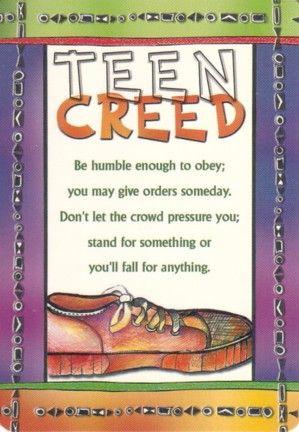 teen creed prayer card things i like pinterest