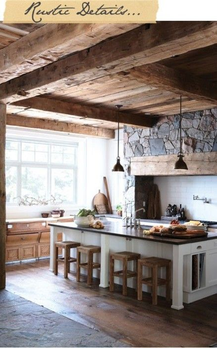 Country kitchen- So much about this That I love... Beams, wood, stone, natural sunlight, open space....