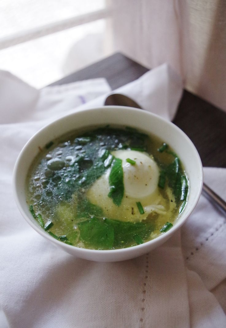 poached eggs in ginger broth