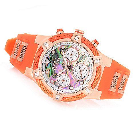 647-339 - Invicta Women's Bolt Quartz Chronograph Abalone Dial Silicone Strap Watch