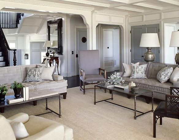 Gray Living Room // Not wall-to-wall tan carpet, but very similar color to ours with lighter grey walls and white accents.