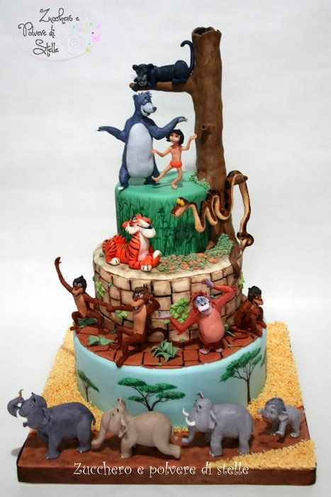 The Jungle Book Cake - by ZuccheroeStelle @ CakesDecor.com - cake decorating website (Favorite Desserts Kids)