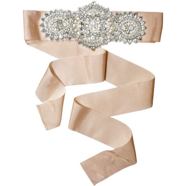 Rental Badgley Mischka Jewelry Lucky in Love Belt ($50) ❤ liked on Polyvore featuring accessories, belts, taupe belt, tie belt, bow belt, bow tie belt y wide bow belt