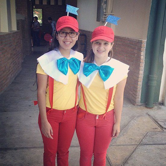 Tweedledum and Tweedledee: Tweedledum and Tweedledee are the perfect costumes for you and your BFF, especially if you're joined at the hip.  What you need to do: Get red caps, red pants, red suspenders, blue blows, and white cloth for the collars. Use blue construction paper to make the flags to stick on top of the caps. Source: Instagram user rosieeosthoff