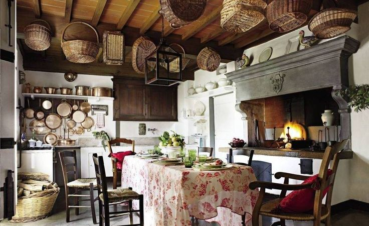 Home Design and Decor , Rustic Italian Decor Ideas : Rustic Italian Decor With Large Hood And Hanging Baskets And Foyer Pendant Lighting And Floral Tablecloth And Open Shelf And Hooks