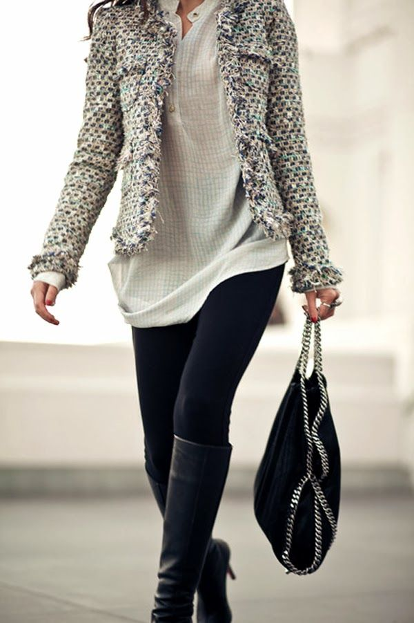 Combination of Amazing Winter Jacket and Black Tights with Leather Shoes, Suitable Leather Handbag